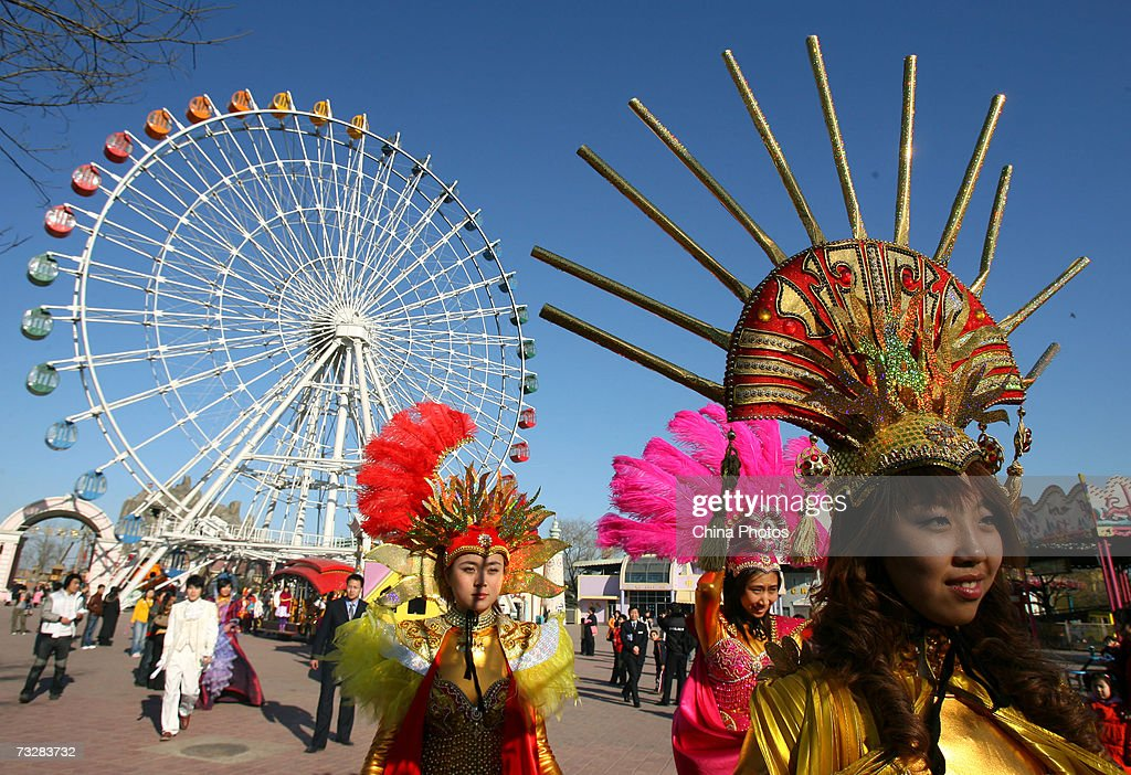 Performers attend a dress rehearsal for a temple fair to be held during the Spring Festival at Shijingshan Amusement Park February 10, 2007 in Beijing, China. The Chinese lunar New Year, or the Spring Festival, will fall on February 18.