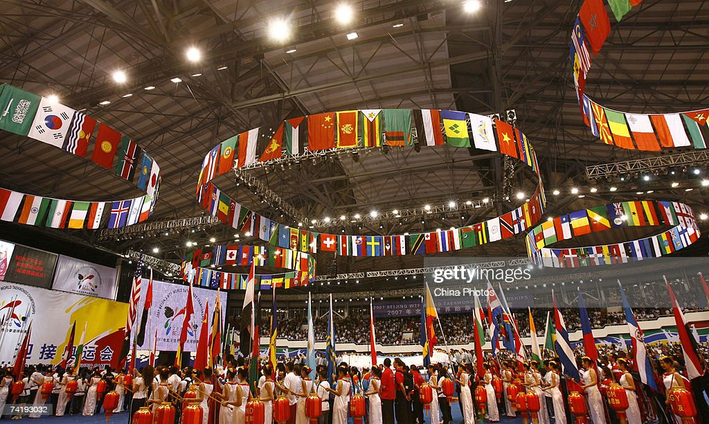 Performers beat drums at the opening ceremony of 2007 Beijing Taekwondo World Championships tournament on May 17, 2007 in Beijing, China.