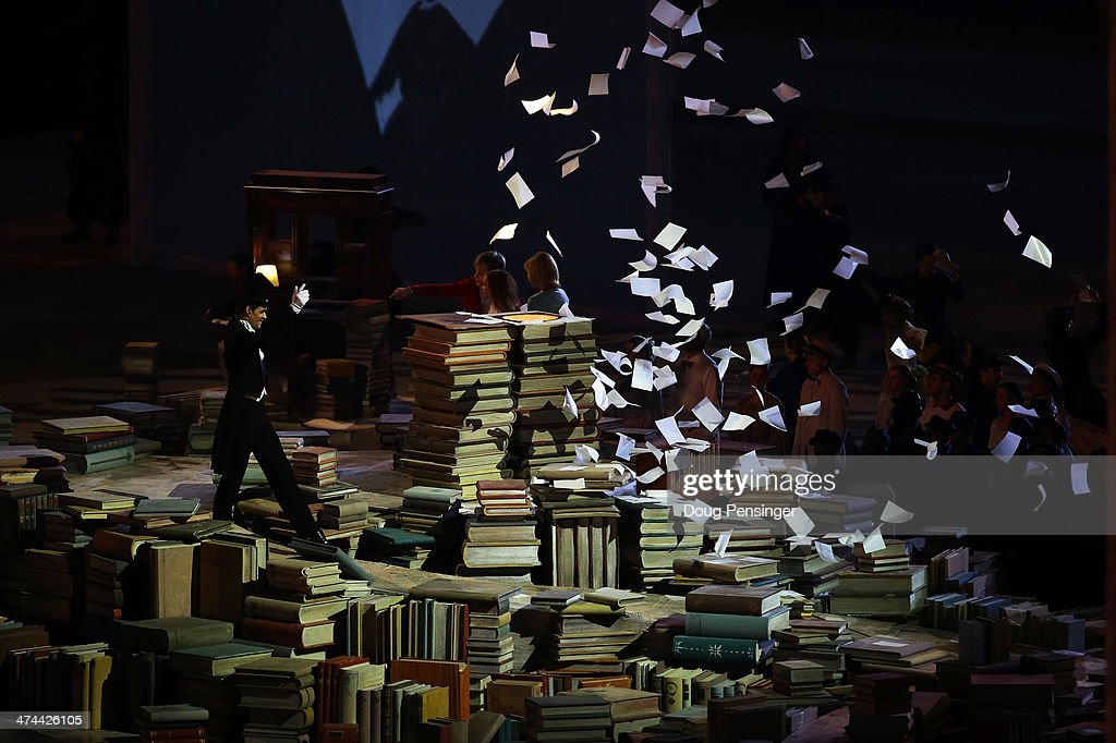 Performers celebrate Russian literature during the 2014 Sochi Winter Olympics Closing Ceremony at Fisht Olympic Stadium on February 23, 2014 in Sochi, Russia.