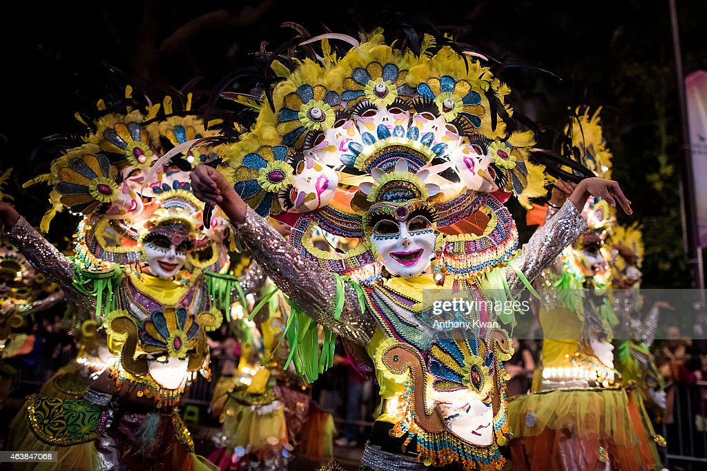 Performers dance at the 2015 Cathay Pacific International Chinese New Year Night Parade on February 19 2015 in Hong Kong Hong Kong The parade...