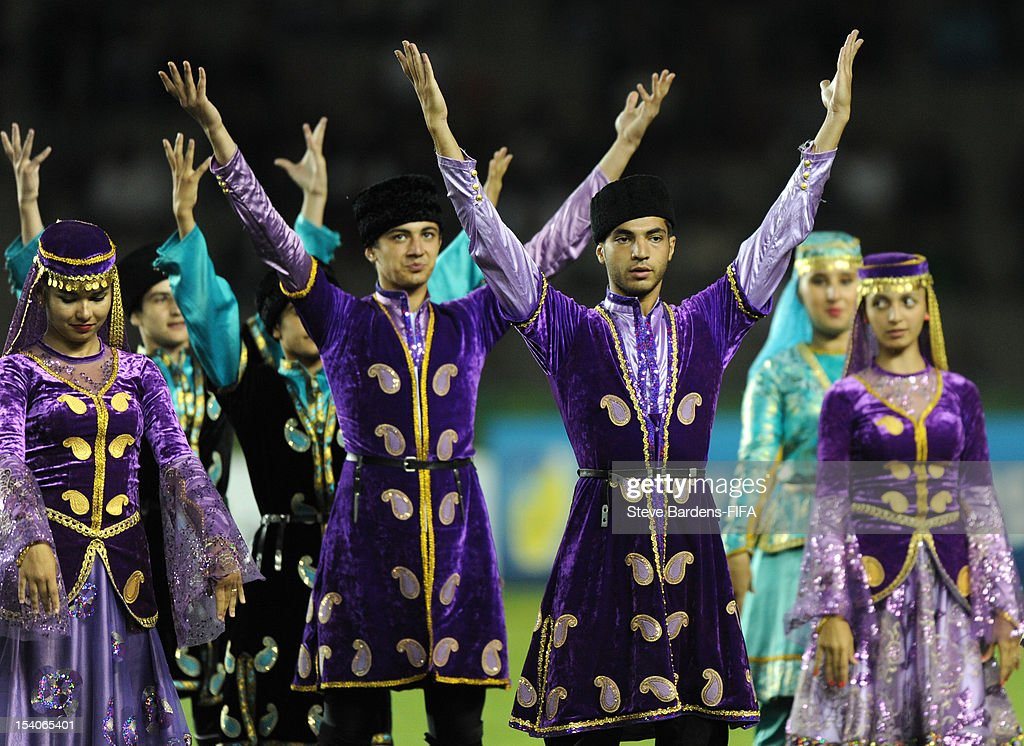 Performers dance during the closing ceremony of the FIFA U-17 Women's World Cup 2012 Final between France and Korea DPR at the Tofig Bahramov Stadium on October 13, 2012 in Baku, Azerbaijan.