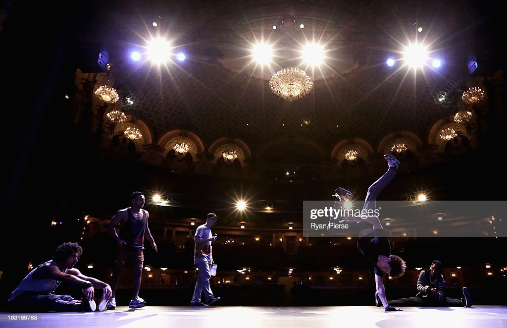 Performers dance during the Red Bull Bach rehearsal session at the Sydney State Theatre on March 6, 2013 in Sydney, Australia. The production translates Johann Sebastian Bach's 18th Century composition, 'The Well-Tempered Clavier', into breakdance by German crew, Flying Steps.