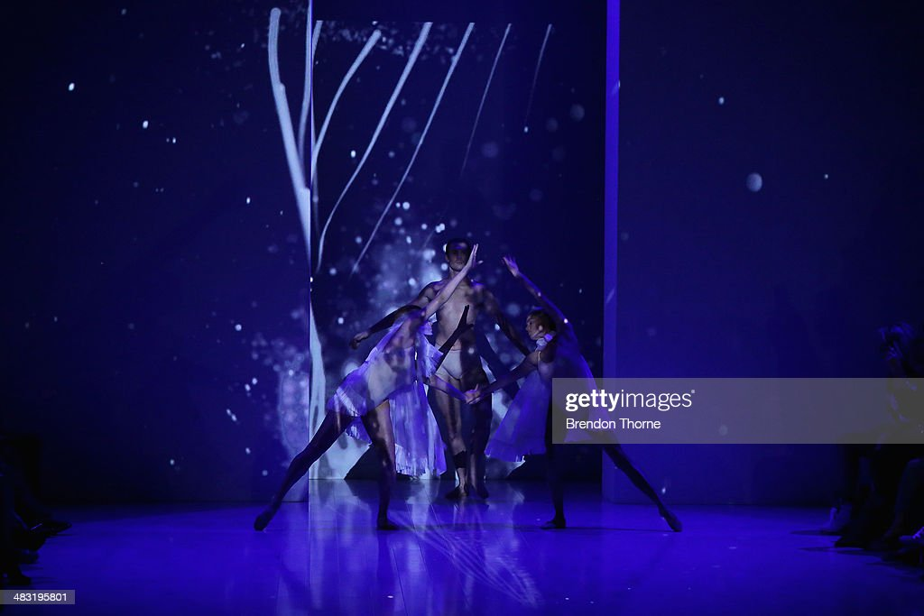 Performers dance on the runway at the Gail Sorronda show during Mercedes-Benz Fashion Week Australia 2014 at Carriageworks on April 7, 2014 in Sydney, Australia.