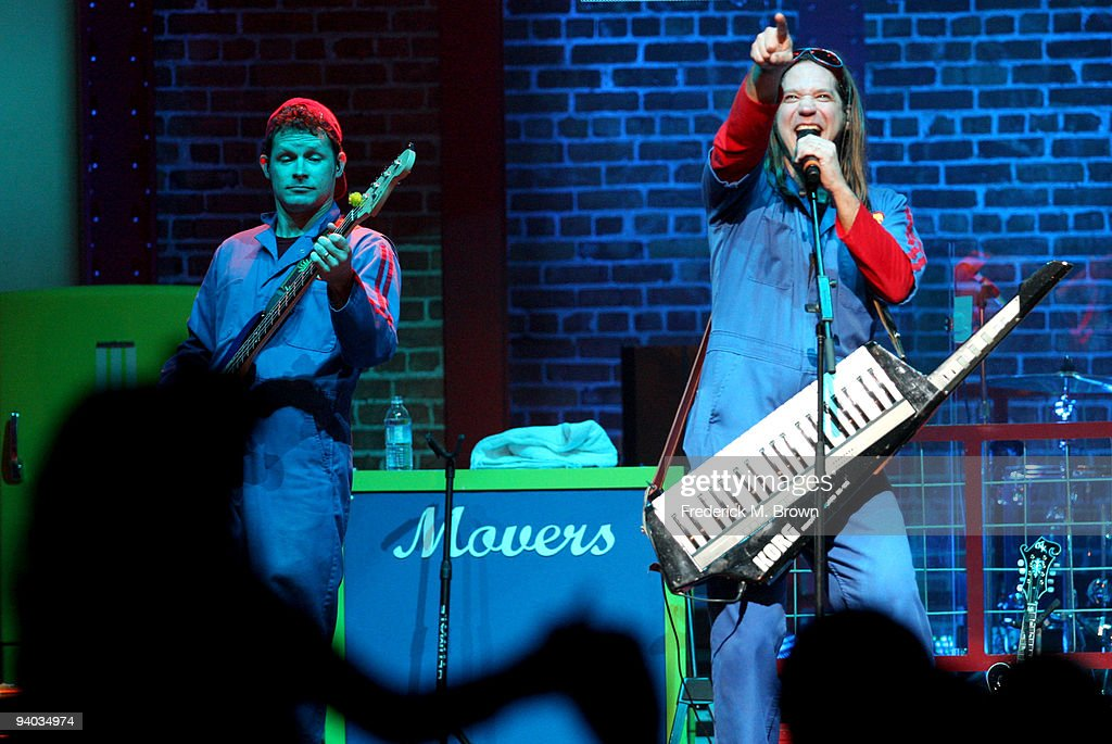 Performers David Poche (L) and Scott Durbin perform onstage with Disney's Imagination Movers in Los Angeles during their first ever US concert tour at Club Nokia on December 5, 2009 in Los Angeles, California.