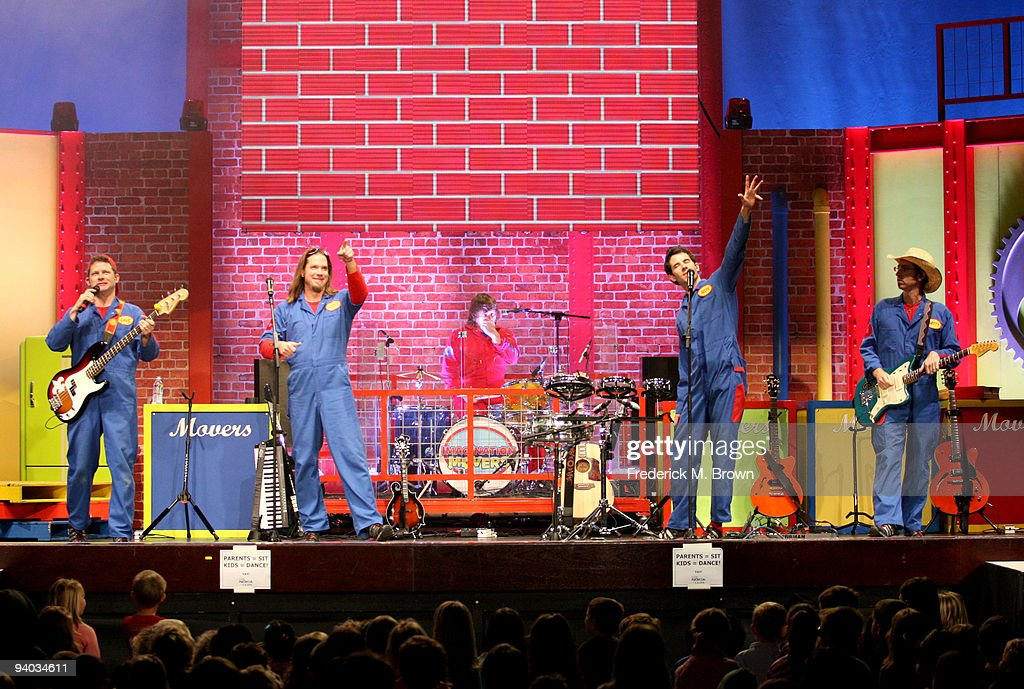 Performers David Poche, Rich Collins Scott Durbin, and Scott Smith perform onstage with Disney's Imagination Movers in Los Angeles during their first ever US concert tour at Club Nokia on December 5, 2009 in Los Angeles, California.