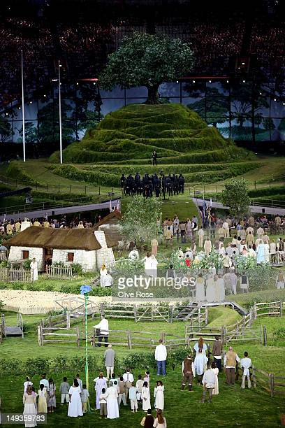 Performers depict a view of the English countryside during the Opening Ceremony of the London 2012 Olympic Games at the Olympic Stadium on July 27...