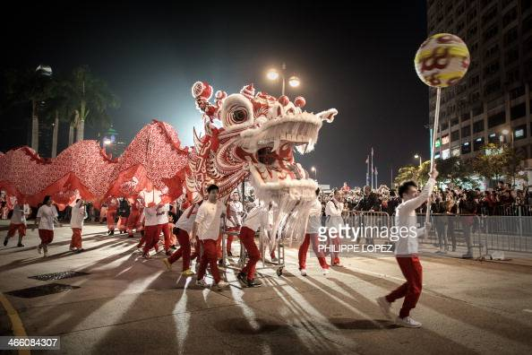 Performers display a dragon dance during a Chinese New Year parade in Hong Kong on January 31 2014 Chinese communities across Asia have come together...