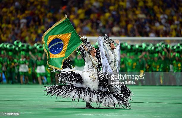 Performers entertain the crowd at the closing ceremony prior to the FIFA Confederations Cup Brazil 2013 Final match between Brazil and Spain at...