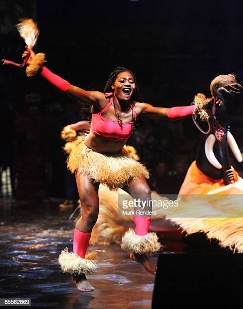 Performers entertain the crowd during the AfrikaAfrika show on March 23 2009 in Brussels Belgium AfrikaAfrika fuses dance music and acrobatics by...