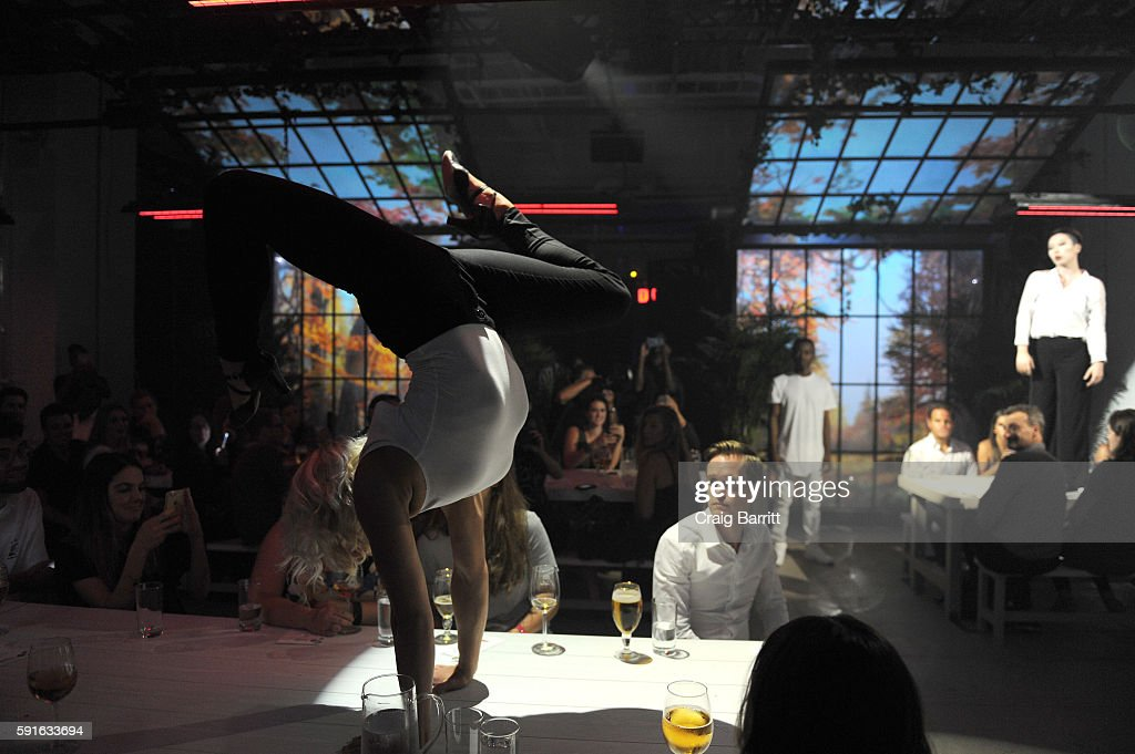Performers from 45 DEGREES – Cirque du Soleil's events and special projects company – entertain guests at Stella Artois 'Le Savoir' a multisensorial...