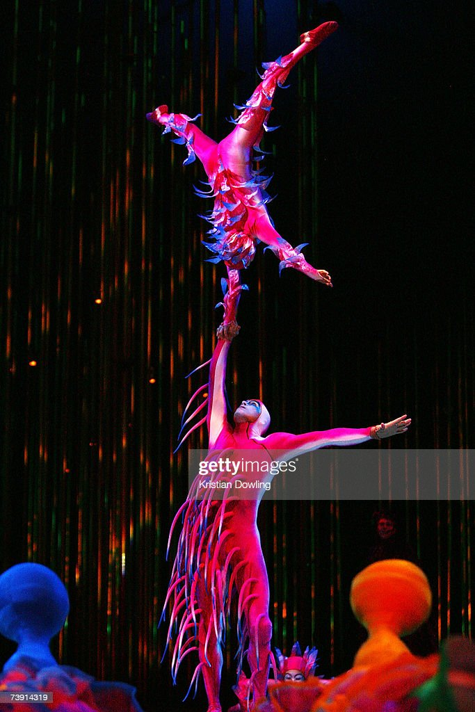 Performers from Cirque Du Soleil perform at the Dress Rehearsal for 'Varekai' at The Oval Melbourne Park on April 18 2007 in Melbourne Australia