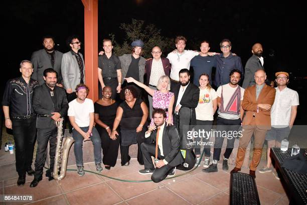 Performers from Soul Bugs Superjam The DapKings play The Beatles are seen backstage during day 2 of the 2017 Lost Lake Festival on October 21 2017 in...