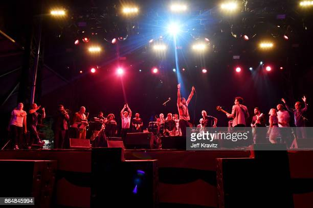 Performers from Soul Bugs Superjam The DapKings play The Beatles perform at Piestewa Stage during day 2 of the 2017 Lost Lake Festival on October 21...