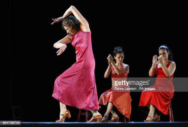 Performers from Spanish flamenco dance group Arrieritos rehearse ahead of their Edinburgh Fringe Festival at the Universal Arts Theatre