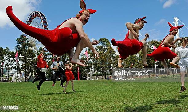 Performers from the internationally acclaimed Australian Circus Oz masquerading as kangaroos Luke Taylor Jeremy Davies and Paul O'Keeffe jump in the...