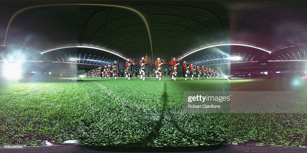 Performers go through a final dress rehearsal for the Royal Edinburgh Military Tattoo at Etihad Stadium on February 11, 2016 in Melbourne, Australia. The performance features a full size replica of the Edinburgh Castle and over 1200 international and Australian performers including the Massed Pipes and Drums of Scotland's famous regiments.