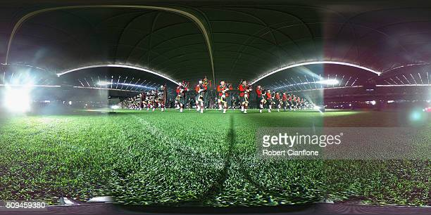 Performers go through a final dress rehearsal for the Royal Edinburgh Military Tattoo at Etihad Stadium on February 11 2016 in Melbourne Australia...