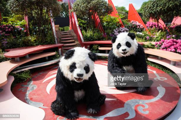 Performers in panda costumes perform in the Silk Road Garden at the Chelsea Flower Show on May 22 2017 in London England The prestigious Chelsea...