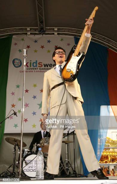 Performers including Dean Elliott as Buddy from the musical 'Buddy The Buddy Holly Story' on stage at the annual Kids Week in the West End which is...