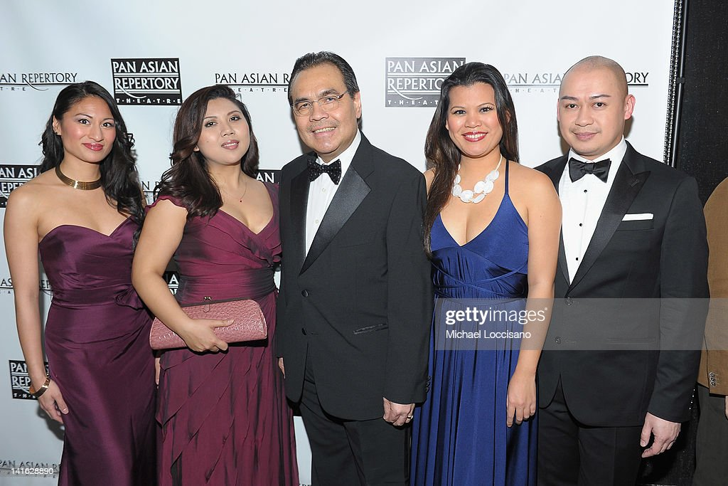 Performers Jonelle Margallo and Loresa Lanceta, Consul General of the Philippines Mario L. De Leon Jr., performer Liz Casasola and Brian Jose attend 'Legacy And Homecoming' the Pan Asian Repertory's 35th Anniversary Gala at The Edison Ballroom on March 19, 2012 in New York City.