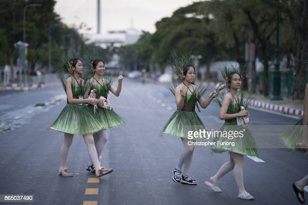 Performers line up to take their place in a rehearsal for the funeral ceremony of Thailand's late King Bhumibol Adulyadej on October 22 2017 in...