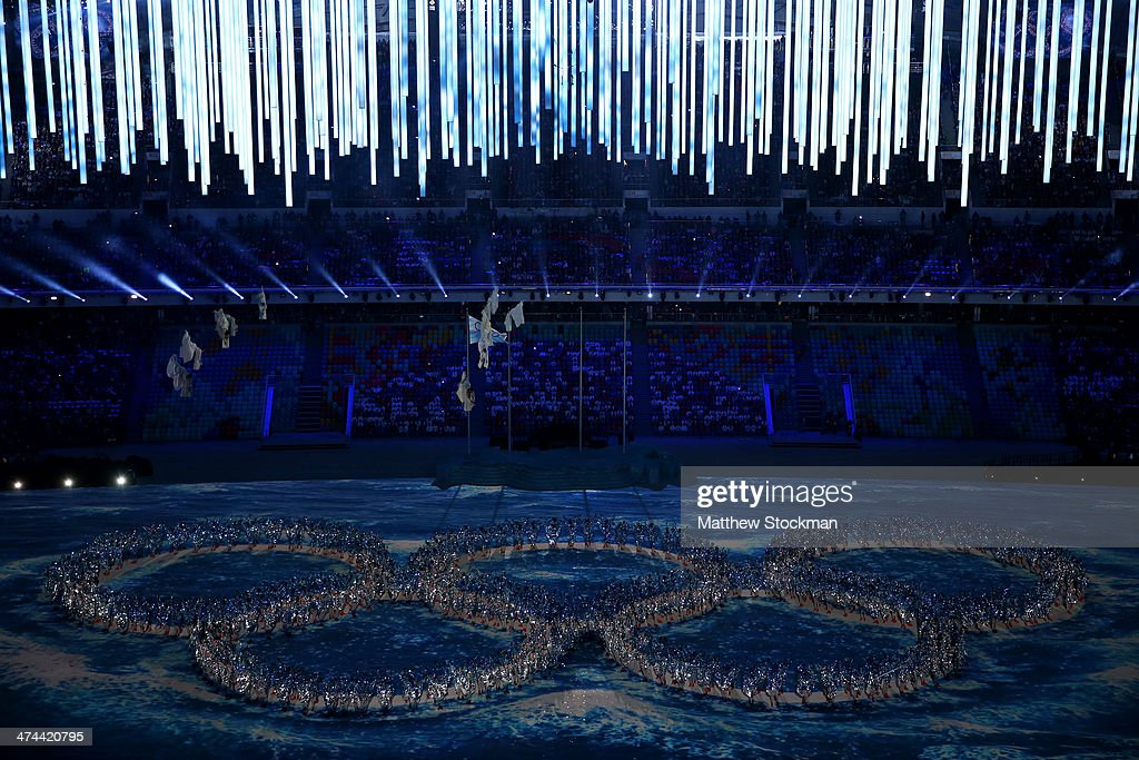 Performers make the shape of the Olympic Rings during the 2014 Sochi Winter Olympics Closing Ceremony at Fisht Olympic Stadium on February 23, 2014 in Sochi, Russia.