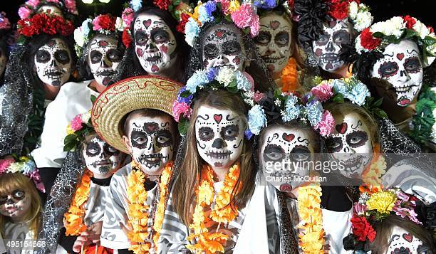 Performers make their way along the parade route as over 30000 people take part in Europe's largest Halloween street parade on October 31 2015 in...
