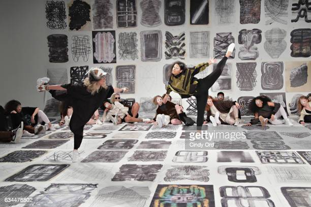 Performers/ models take part in the Berenik Presentation during New York Fashion Week on February 9 2017 in New York City
