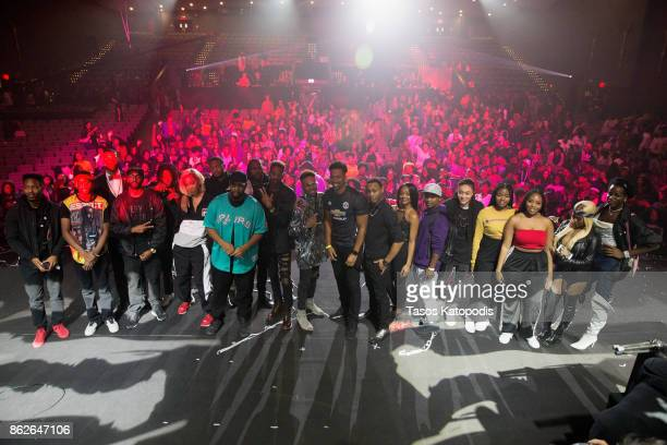 Performers of the #Youtube Black FanFest pose for a photo at Crampton Auditorium at Howard University on October 17 2017 in Washington DC