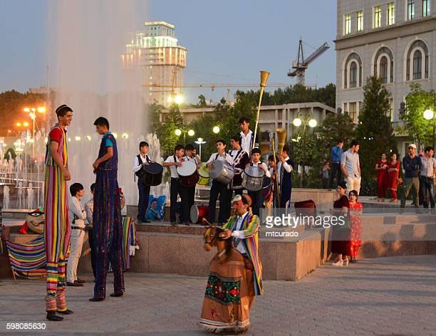 Performers on Dusti square, Dushanbe, Tajikistan