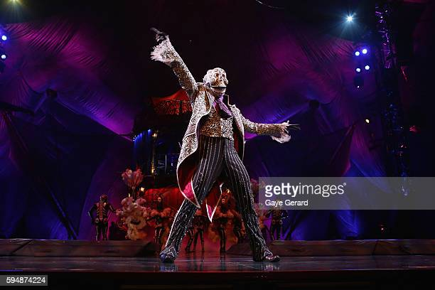 Performers onstage during the Skeleton Dance in Cirque du Soleil KOOZA Sydney Dress Rehearsal at The Entertainment Quarter on August 24 2016 in...