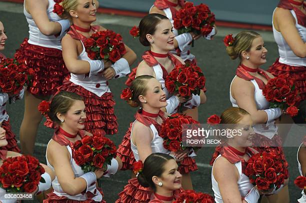 Performers open the 128th Rose Parade in Pasadena California January 2 2017 The Rose Parade also known as the Tournament of Roses Parade is part of...