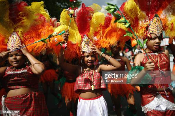 Performers parade through the streets during the Notting Hill Carnival on August 24 2014 in London England The Notting Hill Carnival is the largest...