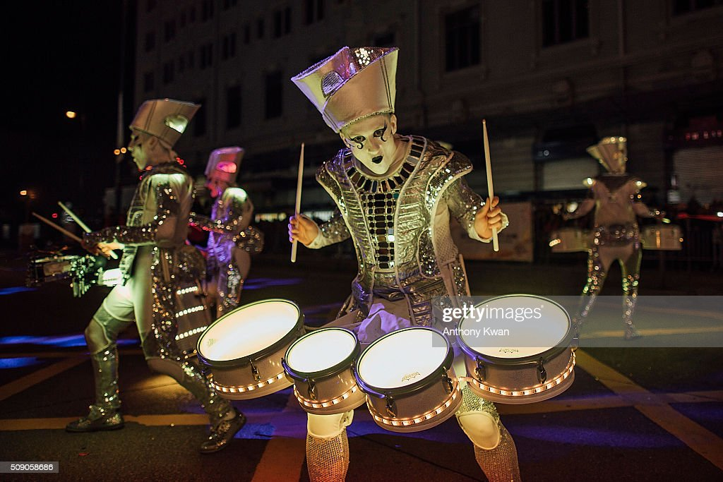 Performers participate at the 2016 Cathay Pacific International Chinese New Year Night Parade on February 8 2016 in Hong Kong The Chinese Lunar New...