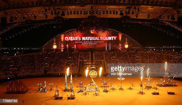 Performers participate in a rehearsal at Khalifa Stadium for the Opening Ceremony of the 15th Asian Games November 29 2006 in Doha More than 13000...