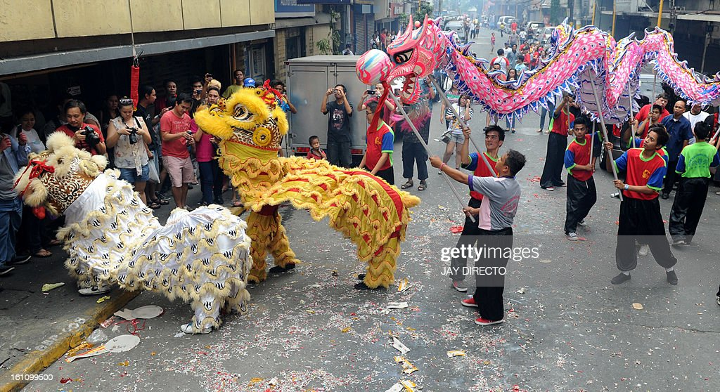 Performers perform a lion dance (L) and a dragon dance on the eve of the Chinese Lunar New Year of the Snake, in China town in Manila on February 9, 2013. The Dragon Dance is usually performed during the Chinese New Year to bring in good luck and prosperity as billions of Chinese world wide celebrate Lunar New Year of the Snake on February 10. AFP PHOTO / Jay DIRECTO