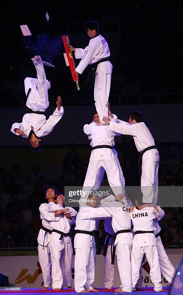 Performers practise Taekwondo at the opening ceremony of 2007 Beijing Taekwondo World Championships tournament on May 17, 2007 in Beijing, China.