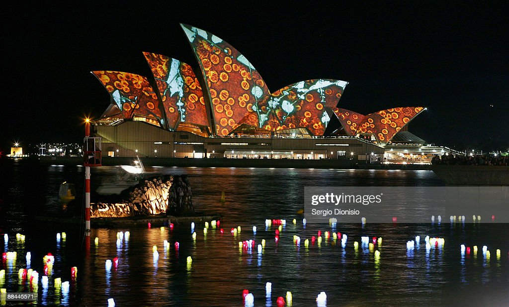 Performers recreate 'Fire Water' the Sinking Of The 'Three Bees' on Sydney Harbour as part of the Vivid Sydney Festival on June 12, 2009 in Sydney, Australia.