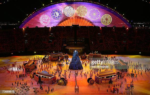 Performers reenact the history of Asia during a rehearsal at Khalifa Stadium for the Opening Ceremony of the 15th Asian Games November 29 2006 in...