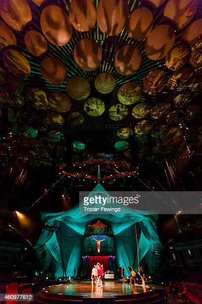 Performers rehearse on stage in preperation for the opening of 'Kooza' by Cirque Du Soleil' at Royal Albert Hall on January 2 2015 in London England