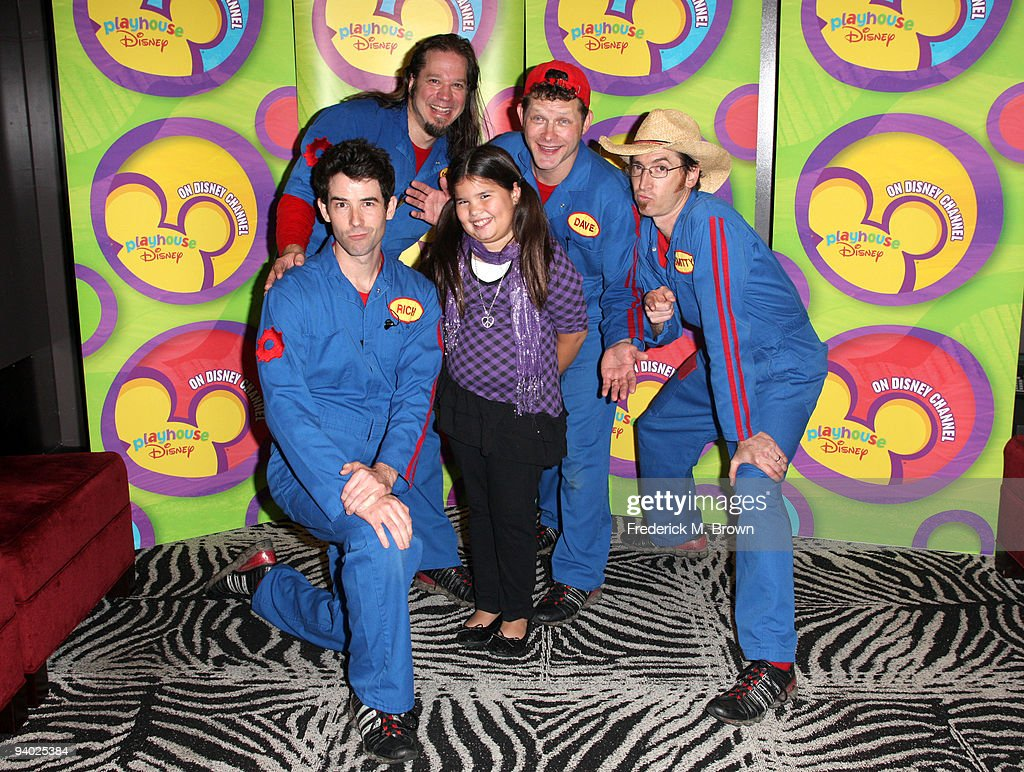 Performers Rich Collins, Scott Durbin, actress Madison De La Garza, David Poche and Scott Smith with Disney's Imagination Movers in Los Angeles during their first ever US concert tour at Club Nokia on December 5, 2009 in Los Angeles, California.