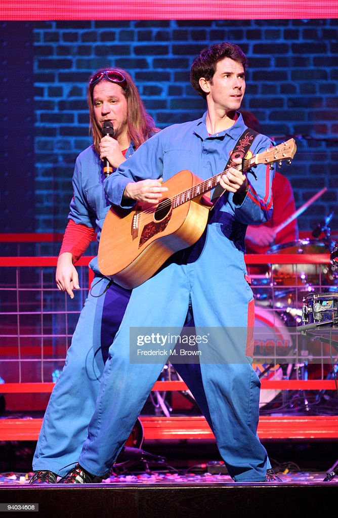 Performers Scott Durbin (L) and Rich Collins perform onstage with Disney's Imagination Movers in Los Angeles during their first ever US concert tour at Club Nokia on December 5, 2009 in Los Angeles, California.