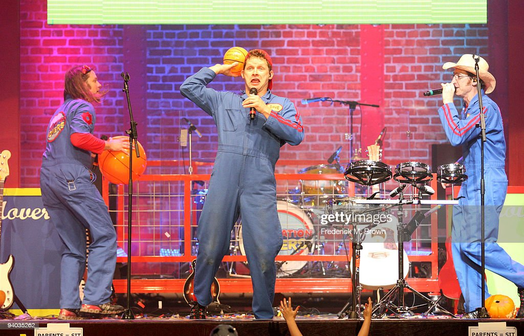 Performers Scott Durbin. David Poche and Scott Smith perform onstage with Disney's Imagination Movers in Los Angeles during their first ever US concert tour at Club Nokia on December 5, 2009 in Los Angeles, California.