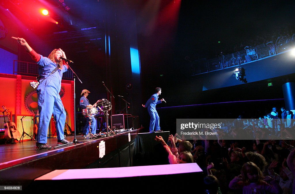Performers Scott Durbin, Scott Smith and Rich Collins perform onstage with Disney's Imagination Movers in Los Angeles during their first ever US concert tour at Club Nokia on December 5, 2009 in Los Angeles, California.