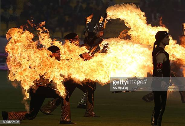 Performers show their skills before the Qatar Airways Cup match between FC Barcelona and AlAhli Saudi FC on December 13 2016 in Doha Qatar
