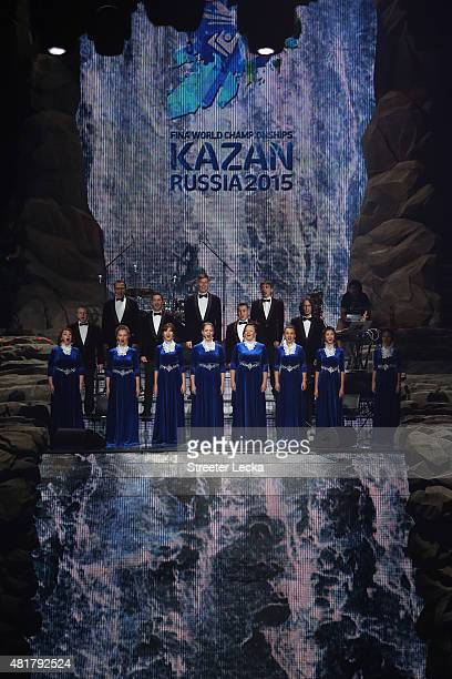 Performers sing during the Opening Ceremony of the 16th FINA World Championships at TatNeft Arena on July 24 2015 in Kazan Russia