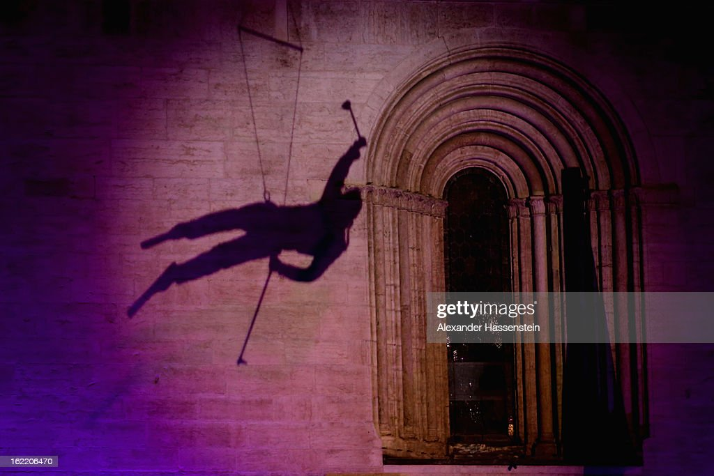 Performers ski during the Opening Ceremony of the FIS Nordic World Ski Championships at the Piazza Duomo on February 20, 2013 in Trento, Italy.
