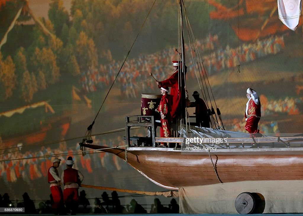 Performers stage a show, enacts conquest of Istanbul during the celebrations of the 563rd anniversary of Istanbuls conquest by Turks at Yenikapi Event Area in Istanbul, Turkey on May 29, 2016. On May 29, 1453, Ottoman Sultan Mehmed II (Mehmet the Conqueror) conquered Istanbul, then called Constantinople, from where the Byzantines had ruled the Eastern Roman Empire for more than 1,000 years. The conquest transformed the city, once the heart of the Byzantine realm, into the capital of the new Ottoman Empire.