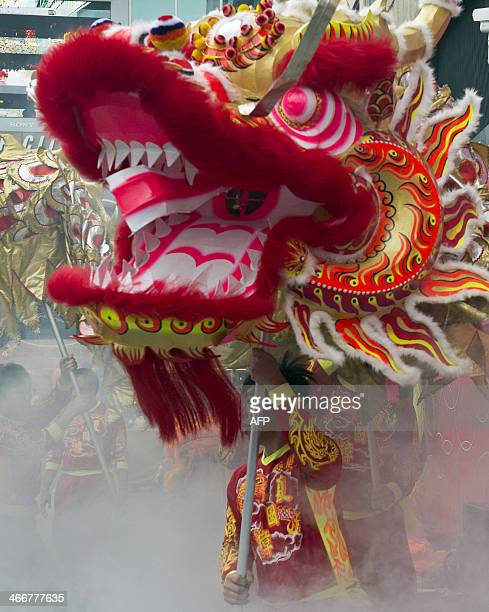 Performers take part in a traditional dragon dance to celebrate the new Lunar Year of the Horse in Hong Kong on February 4 2014 The lunar calendar is...
