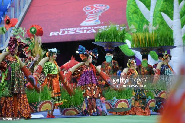 Performers take part in the opening ceremony of the 2017 Confederations Cup football tournament at the Krestovsky Stadium in SaintPetersburg on June...